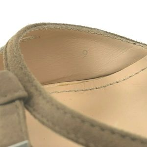 Tod's Shoes - Tods Beige Suede Canvas Ankle Strap Wedge Sandals
